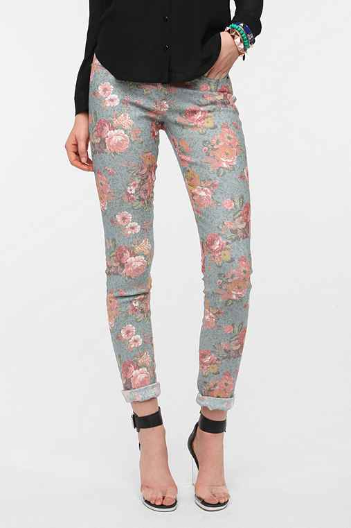 Lucca Couture Floral Twill Skinny Pant