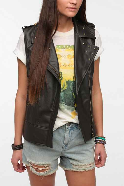 Staring At Stars Vegan Leather Tapestry Moto Vest