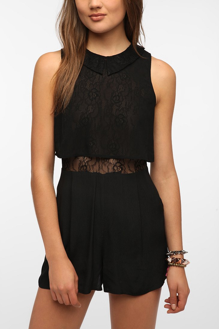 Pins And Needles Lace-Collar Romper - Urban Outfitters