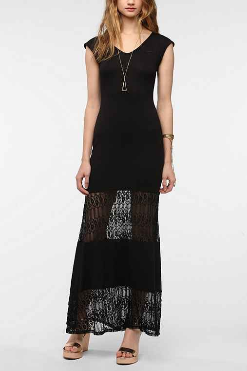 Staring At Stars Knit Lace Hem Maxi Dress