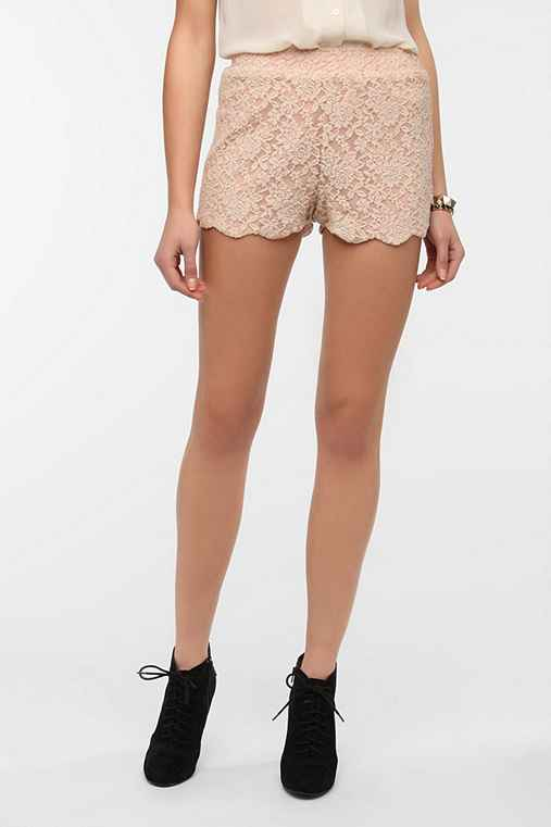 Pins and Needles Scalloped Lace Short