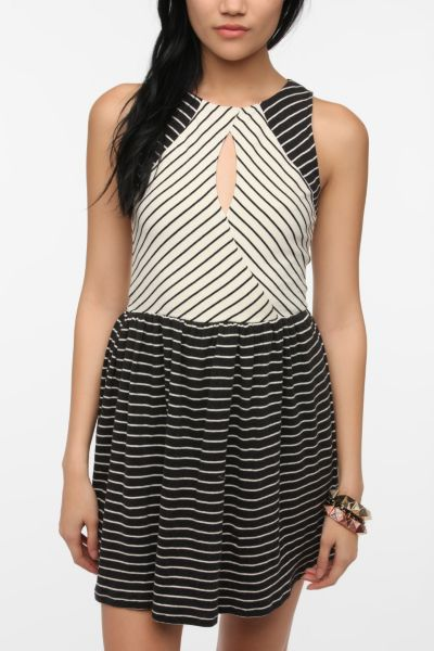 Sparkle & Fade Striped Knit Keyhole Dress