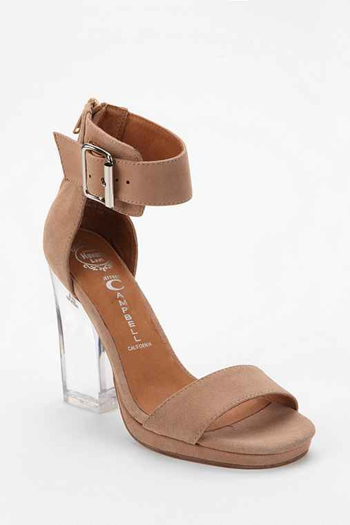 Jeffrey Campbell Soiree Suede Clear Heeled Sandal