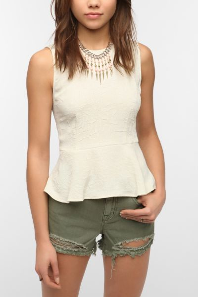 Pins and Needles Jacquard Peplum Tank Top