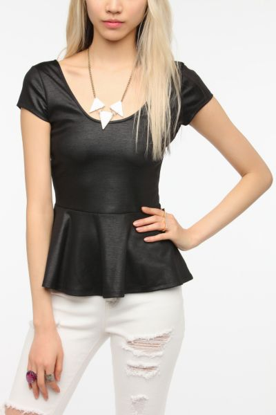 Sparkle & Fade Coated Ponte Peplum Top