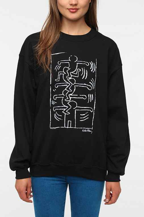 Junk Food Keith Haring Black & White Sweatshirt