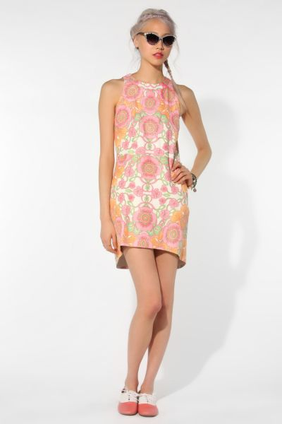 Shakuhachi Cosmosis Leather Floral Print Dress