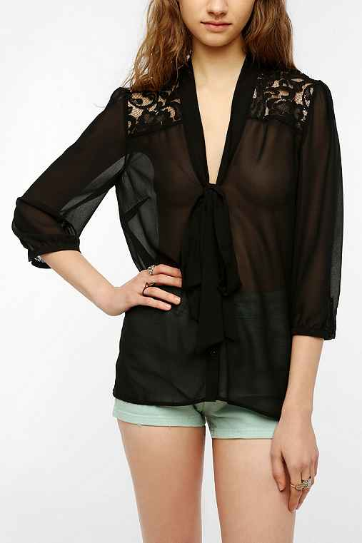 Pins And Needles Lace Inset Tie-Neck Blouse