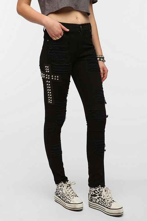 Tripp NYC High-Rise Studded Cross Skinny Jean
