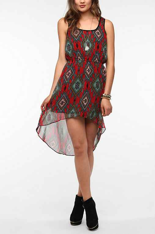 Angie Geo Print Chiffon High/Low Dress