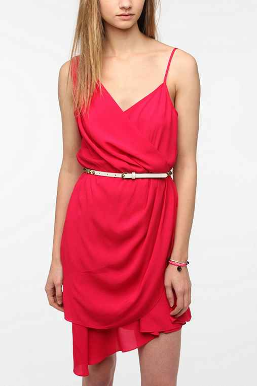 Sparkle & Fade Chiffon Drape-Front Dress