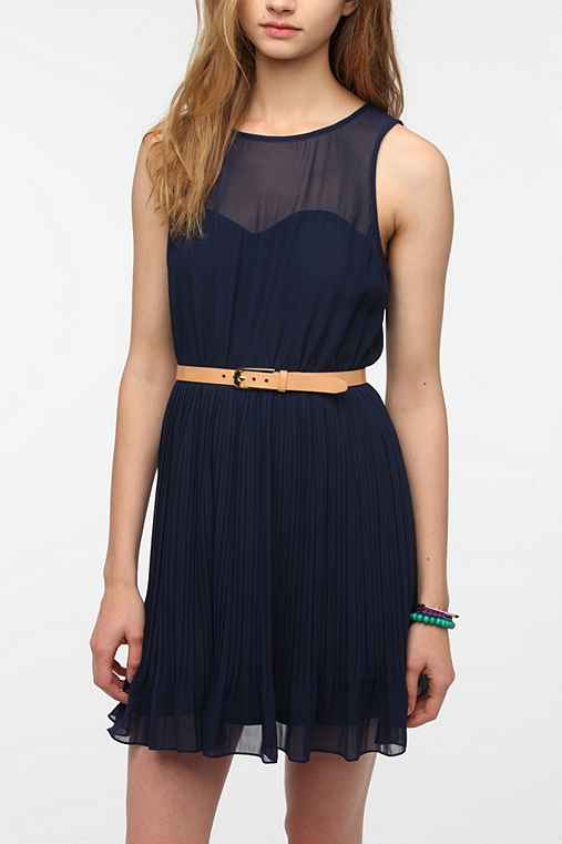 Pins And Needles Chiffon-Top Pleated Dress