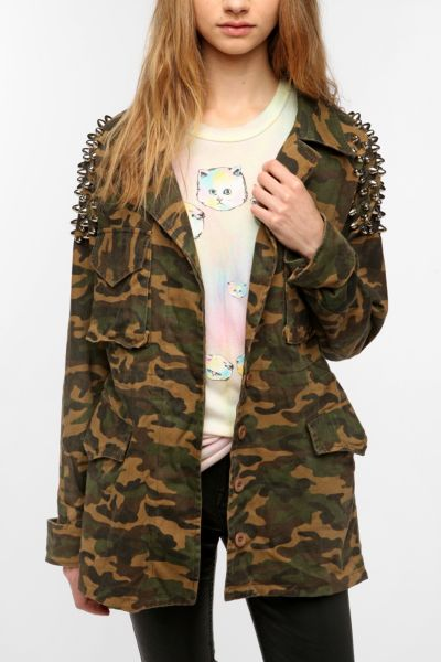 UNIF Camo Studded Awol Surplus Jacket