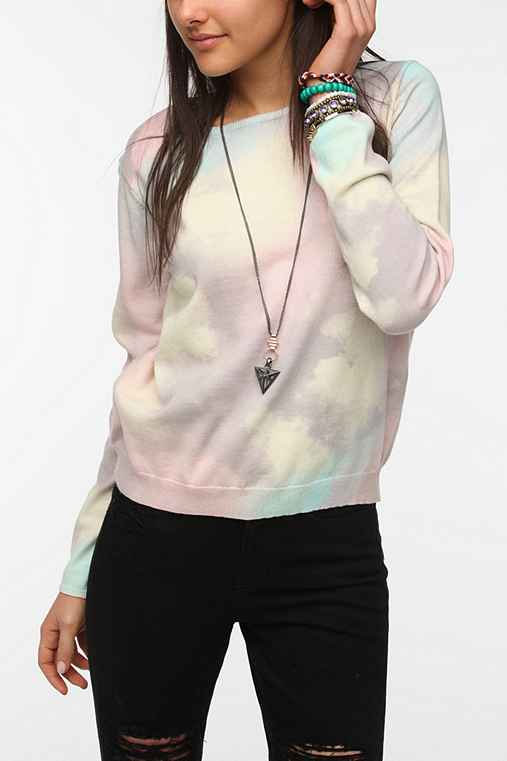 Something Else By Natalie Wood Rainbow Cloud Pullover Sweater