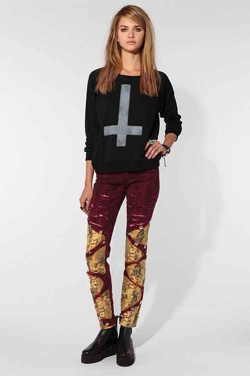 BDG DIY Cigarette High-Rise Jean - Beet Red Snake Print