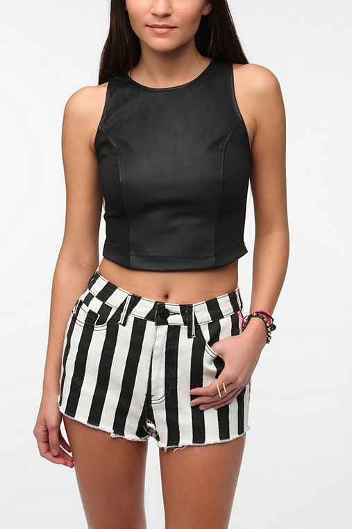 Sparkle & Fade Faux Leather Crop Top