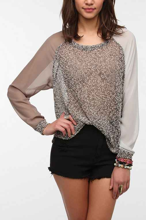 Sparkle & Fade Chiffon-Sleeve Sweater