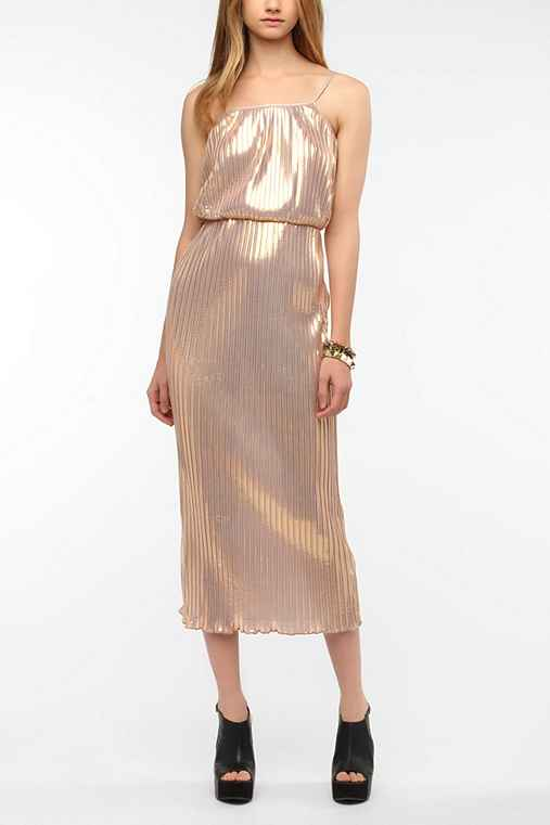 Motel Phoebe Pleated Lamé Maxi Dress