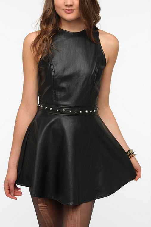 Motel Medusa Vegan Leather Studded Dress