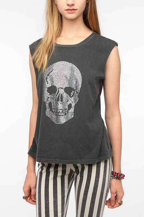 Truly Madly Deeply Holograph Skull Muscle Tee