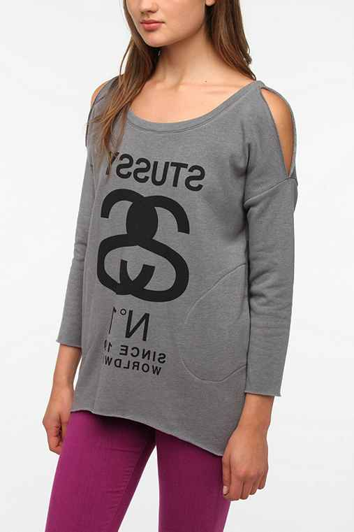 Stussy Cold Shoulder Sweatshirt Tunic
