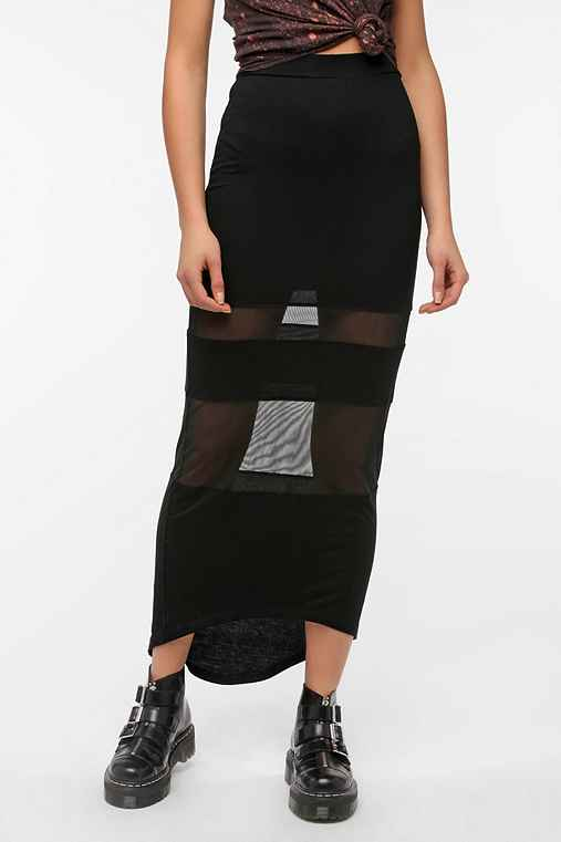 Sparkle & Fade Mesh Inset Maxi Skirt