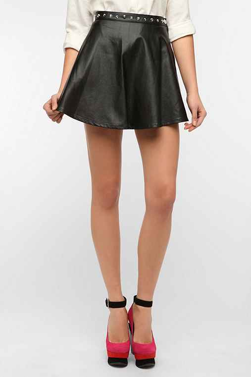 Motel Vegan Leather Studded Circle Skirt