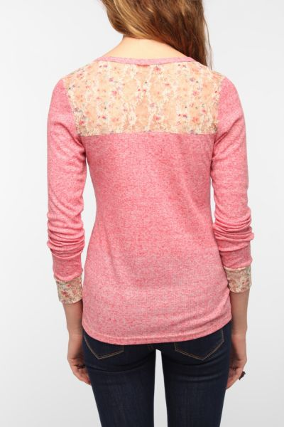 Pins and Needles Lace Inset Henley Thermal