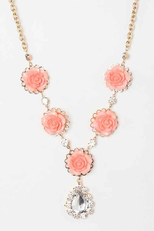 Rhinestone & Roses Teardrop Necklace