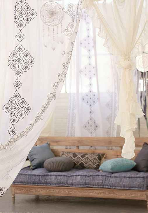 Magical Thinking Embroidered Diamond Curtain