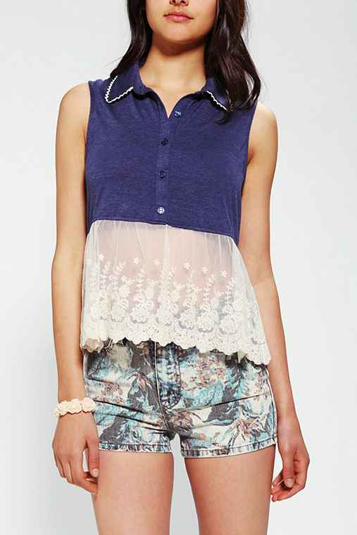 Pins And Needles Sleeveless Lace Peplum Top