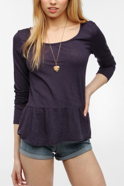 Truly Madly Deeply Long-Sleeved Peplum Tee