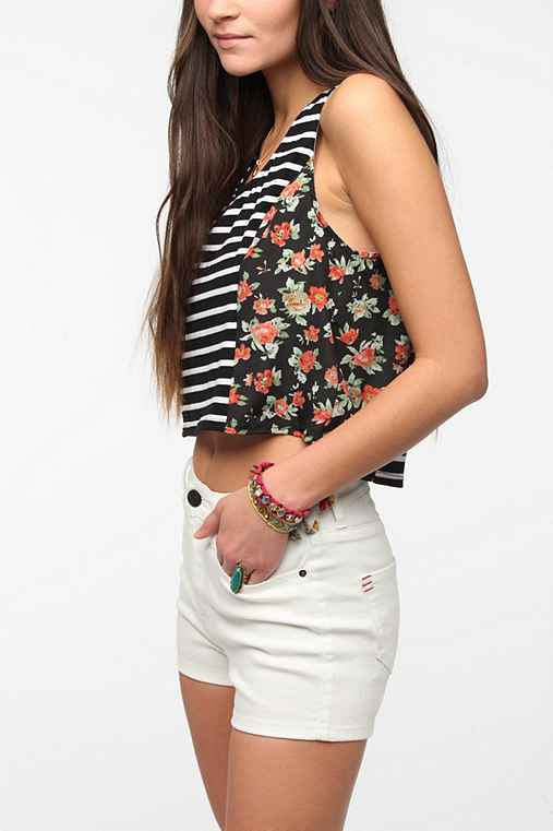 Pins And Needles Mix-Print Swing Cropped Top