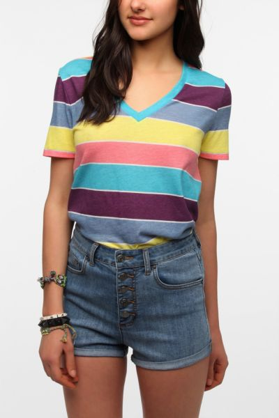 BDG Striped V-Neck Tee