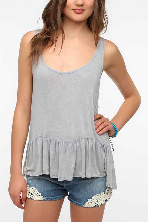 Daydreamer LA Acid-Wash Peplum Tank Top