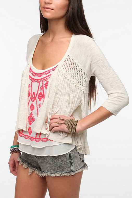 Staring At Stars Fringed Open Cardigan