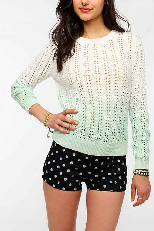 Sparkle & Fade Dip-Dye Open Stitch Pullover Sweater