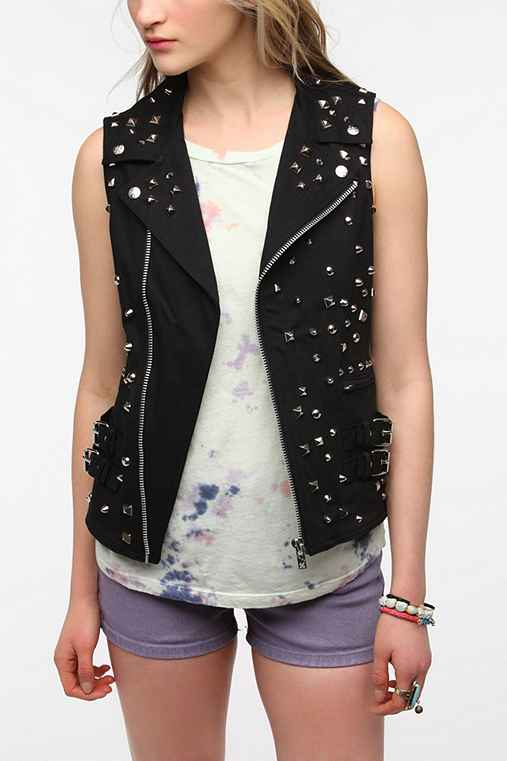 Tripp NYC Studded Denim Moto Vest