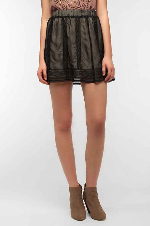 Staring at Stars Embroidered Chiffon Mini Skirt