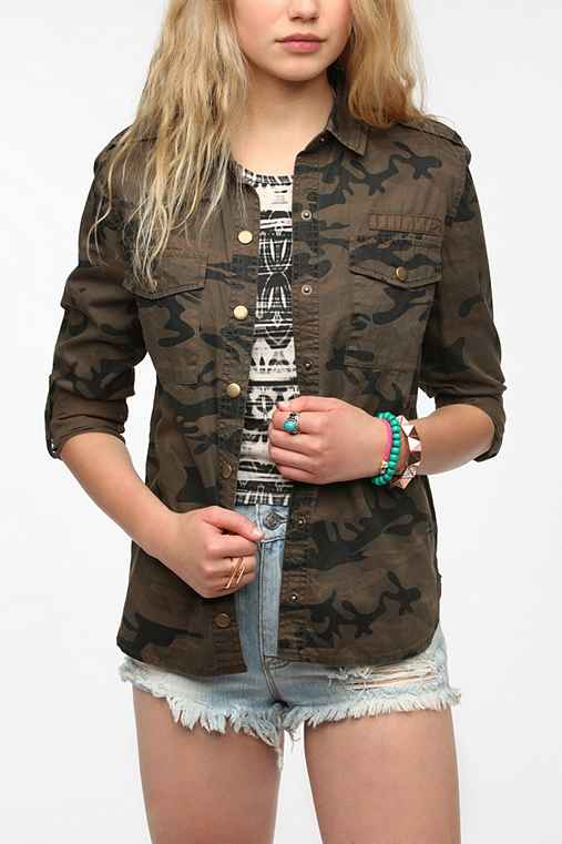 Staring At Stars Button-Down Camo Shirt