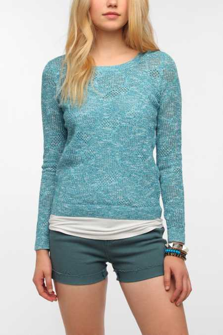 Pins and Needles Patterned Mesh Pullover Sweater