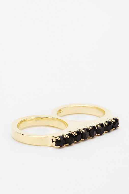 Rhinestone Double-Finger Ring