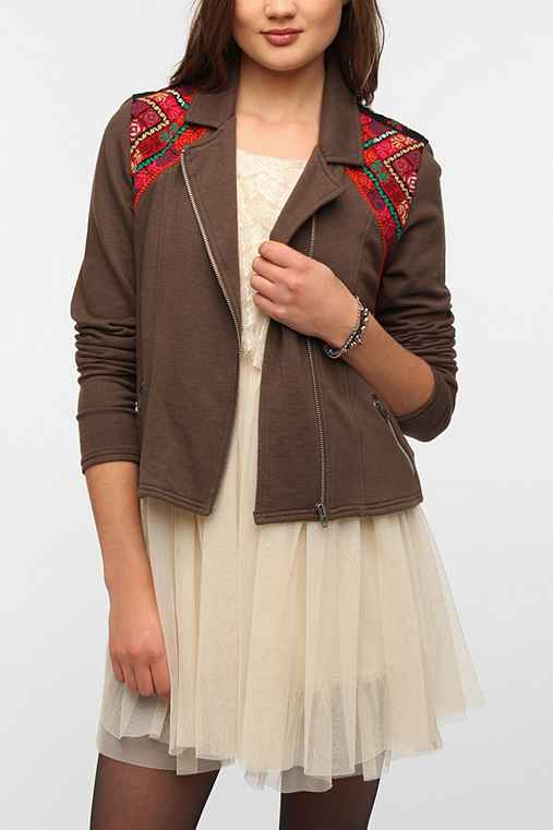 Ecote Brocade-Patched Knit Moto Jacket