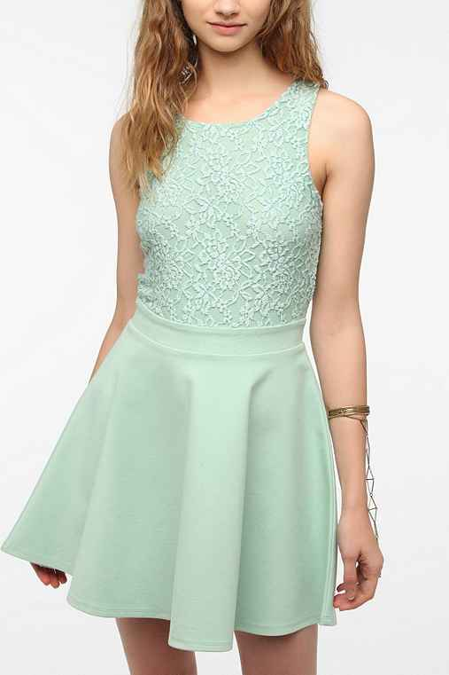 Kimchi Blue Lace-Top Skater Dress