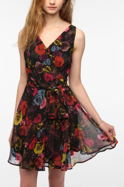 BB Dakota Floral Chiffon Surplice Dress