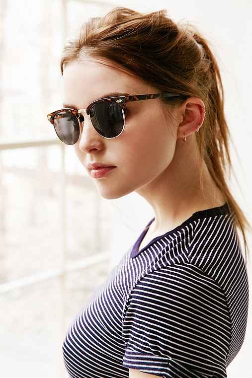 Skylar Half-Frame Sunglasses,BROWN,ONE SIZE