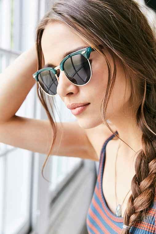 Skylar Half-Frame Sunglasses,DARK GREEN,ONE SIZE