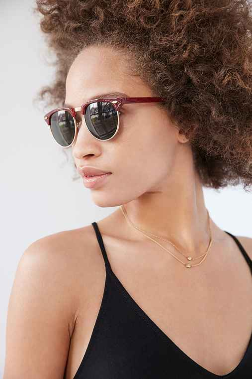 Skylar Half-Frame Sunglasses,MAROON,ONE SIZE