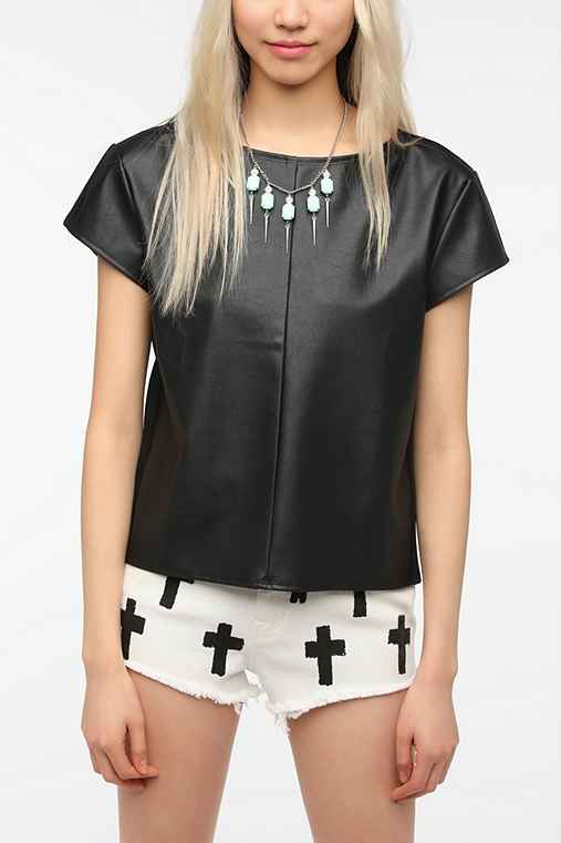 COPE Faux Leather-Front Top