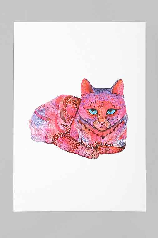 Ola Liola For Society6 Sunset Cat Art Print